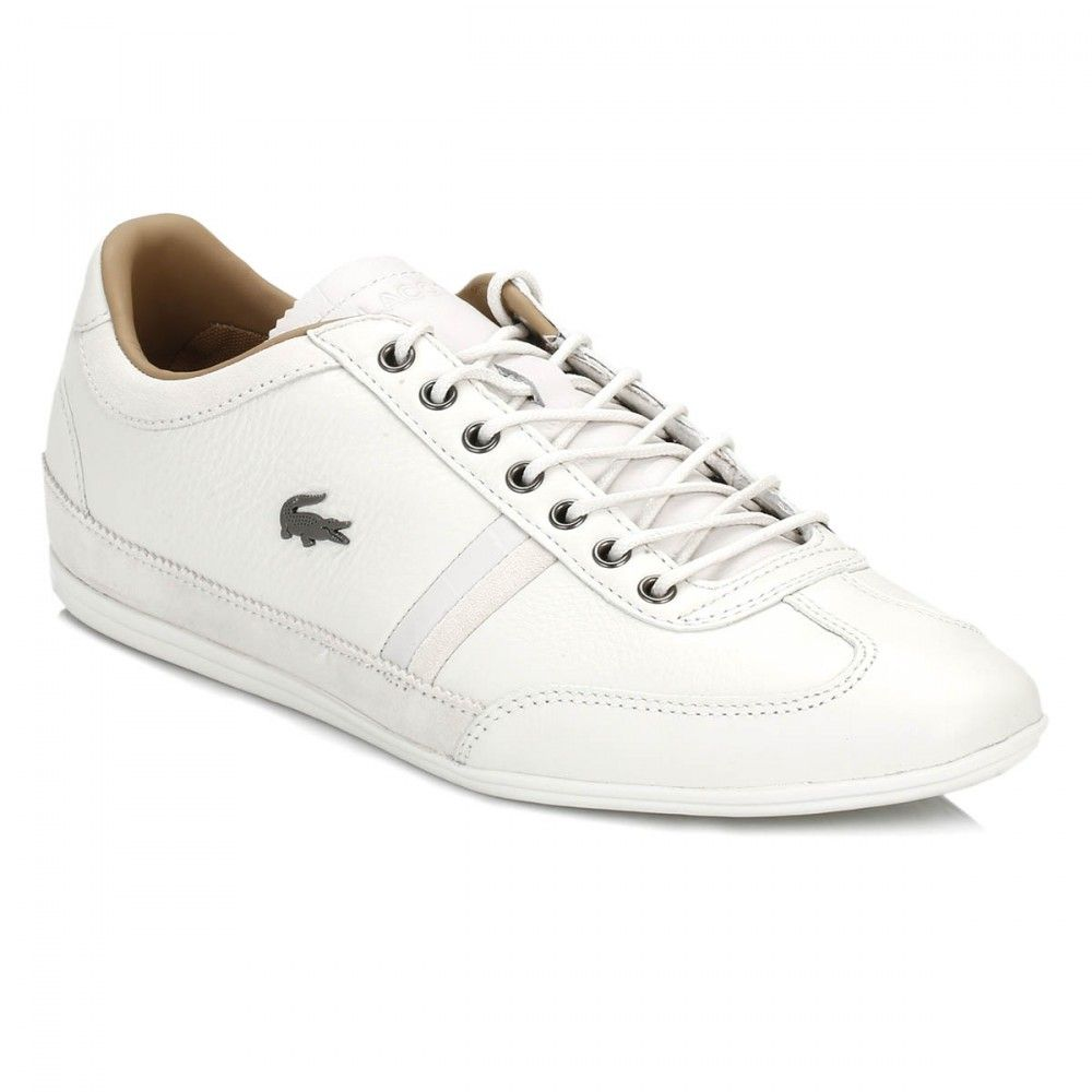 74134b2925c0 Lacoste Mens Off White Misano 36 Leather Trainers