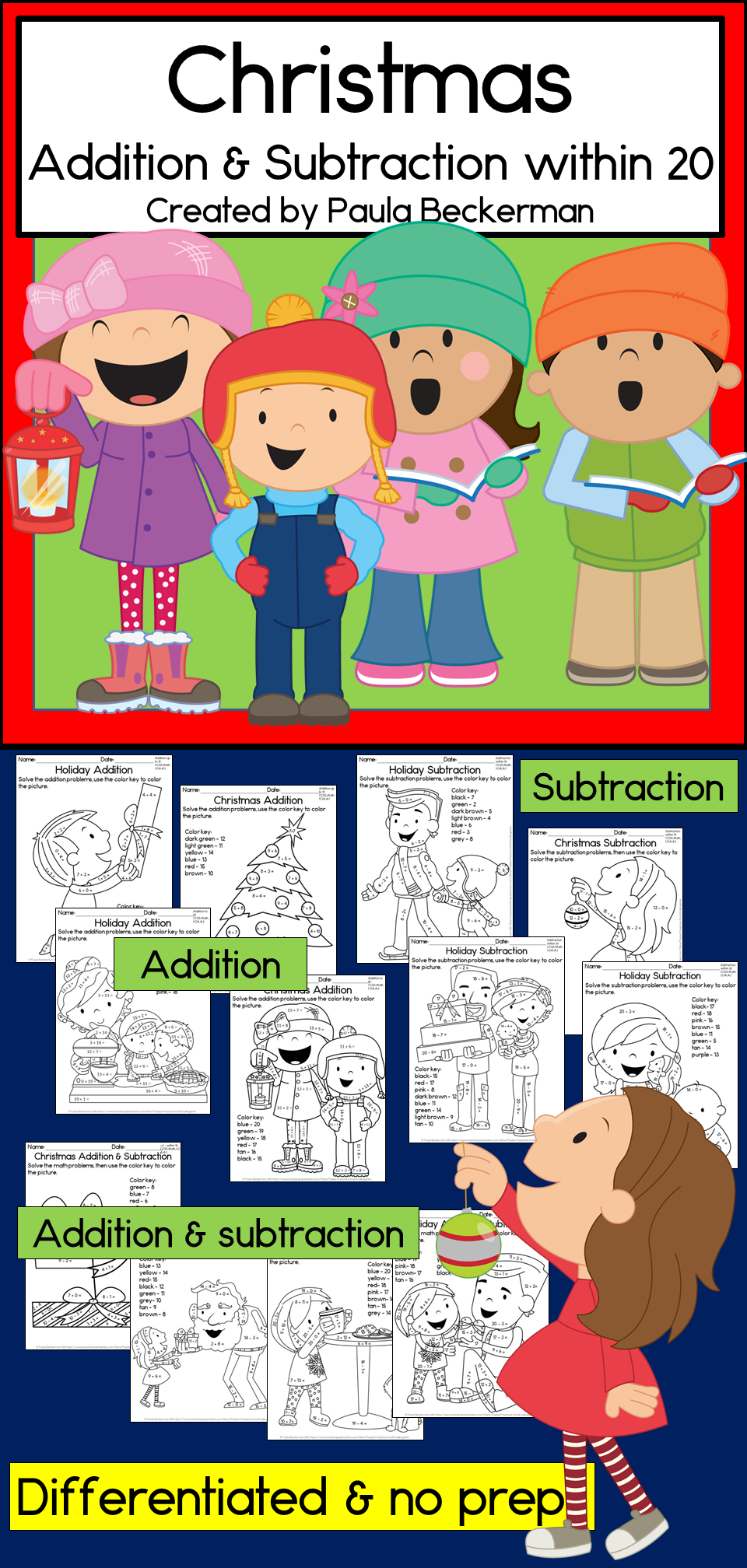 Christmas Addition and Subtraction within 20 | Colorear y Navidad