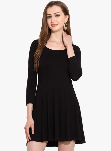 Buy Msmb Black Solid Skater Dress For Women Online India Best