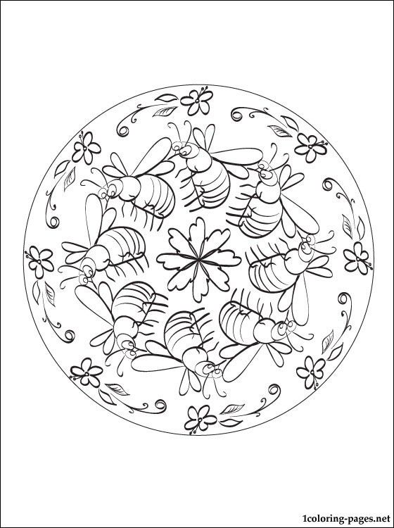 Mandala Bee Coloring Page Bee Coloring Pages Bee Images Coloring Pages