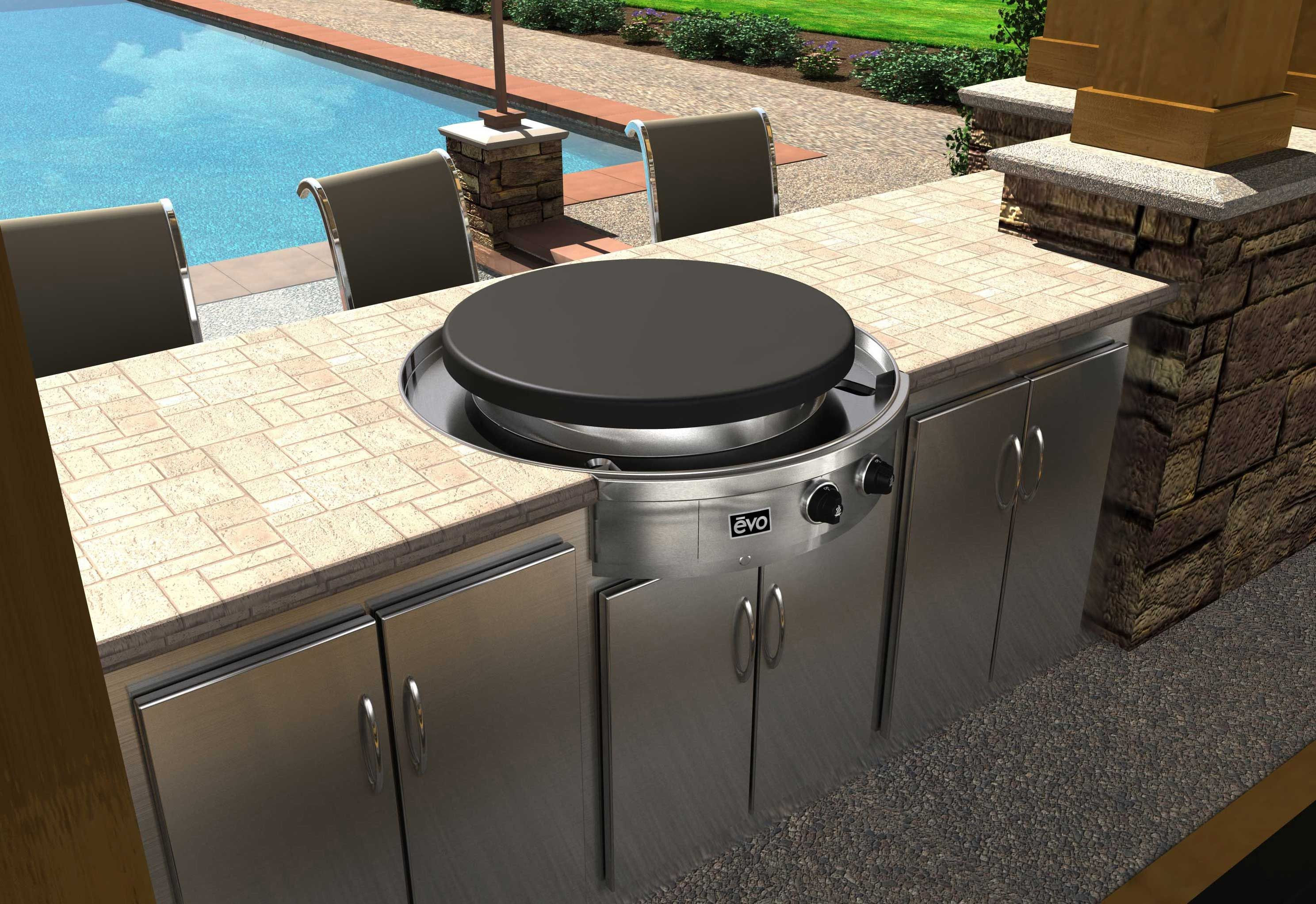 Evo Grill Flat Top Grill Outdoor Kitchen Countertops Built In