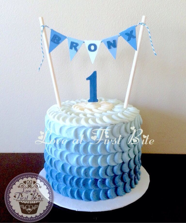 Fabulous Blue Smash Cake First Birthday By Love At First Bite In Personalised Birthday Cards Xaembasilily Jamesorg