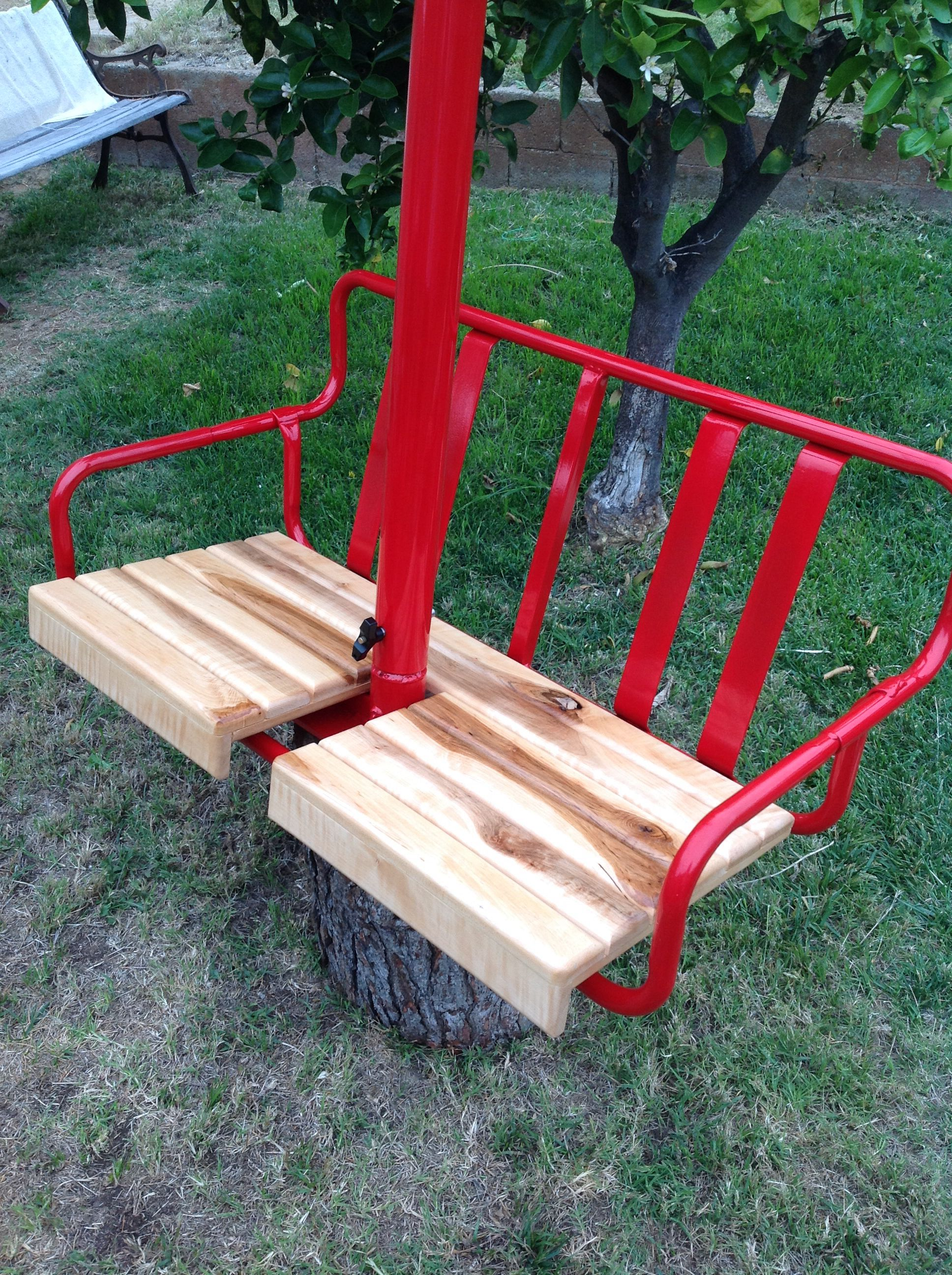 One Of A Kind Custom Restored 1960s Cresta Butte Ski Lift Chair. Converted  Into A Porch Swing To Mount From The Ceiling. Powder Coated Baron Red With  Hard ...