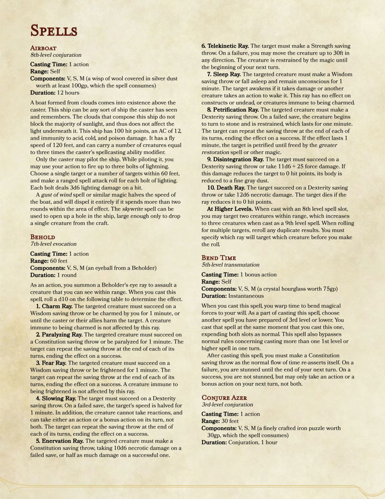 DnD 5e Homebrew (Search results for: Compendium of spells) | D&D