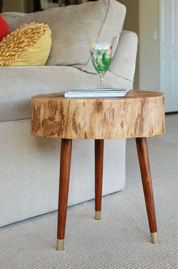 Tree Stump Furniture, Mid Century Coffee Table, Large Tree Slice Table,  Reclaimed Wood