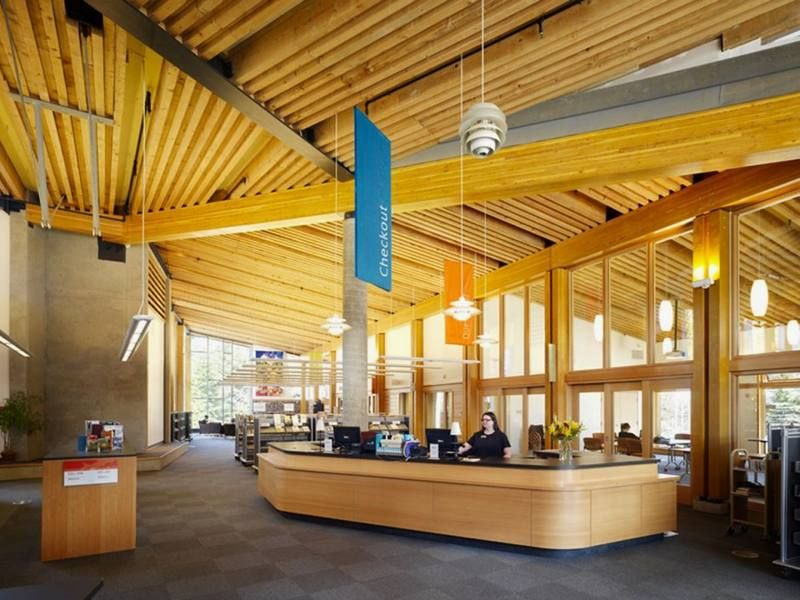 Inside Of Public Library With Refreshing Natural Elements With