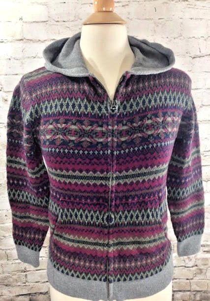 GAP Kids Fair Isle Full Zip Sweater Jacket Size XL 12 Hooded ...