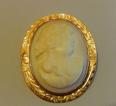 ANTIQUE-SOLID-10K-YG-FINE-HAND-CARVED-PALE-PINK-SHELL-CAMEO-BROOCH-EVC-8-18g