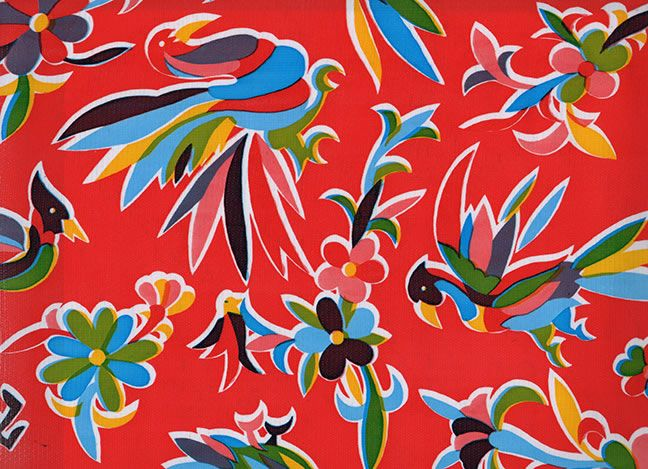 Animales On Red Mexican Oilcloth Fabric Sample Oilcloth