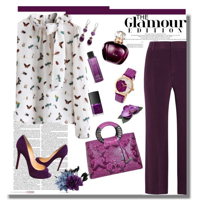"""""""Bold in Purple"""" by alpate ❤ liked on Polyvore featuring Joseph, Chicwish, WithChic, Victoria's Secret, Christian Louboutin, NARS Cosmetics, Essentiel and NOVICA"""