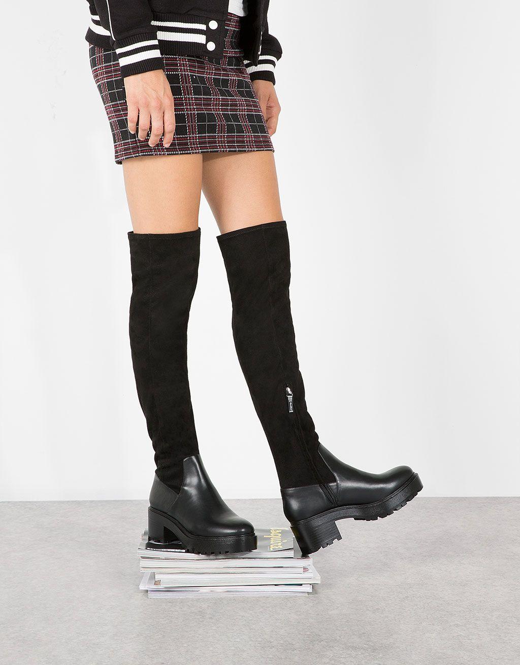 bershka france - bottes hautes bi-matière talon moyen | mode