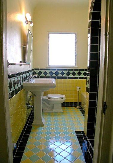 I Love Vintage Tile Crazy Blue Yellow Black Color Scheme Blue Bathroom Tile Colorful Bathroom Tile Vintage Tile