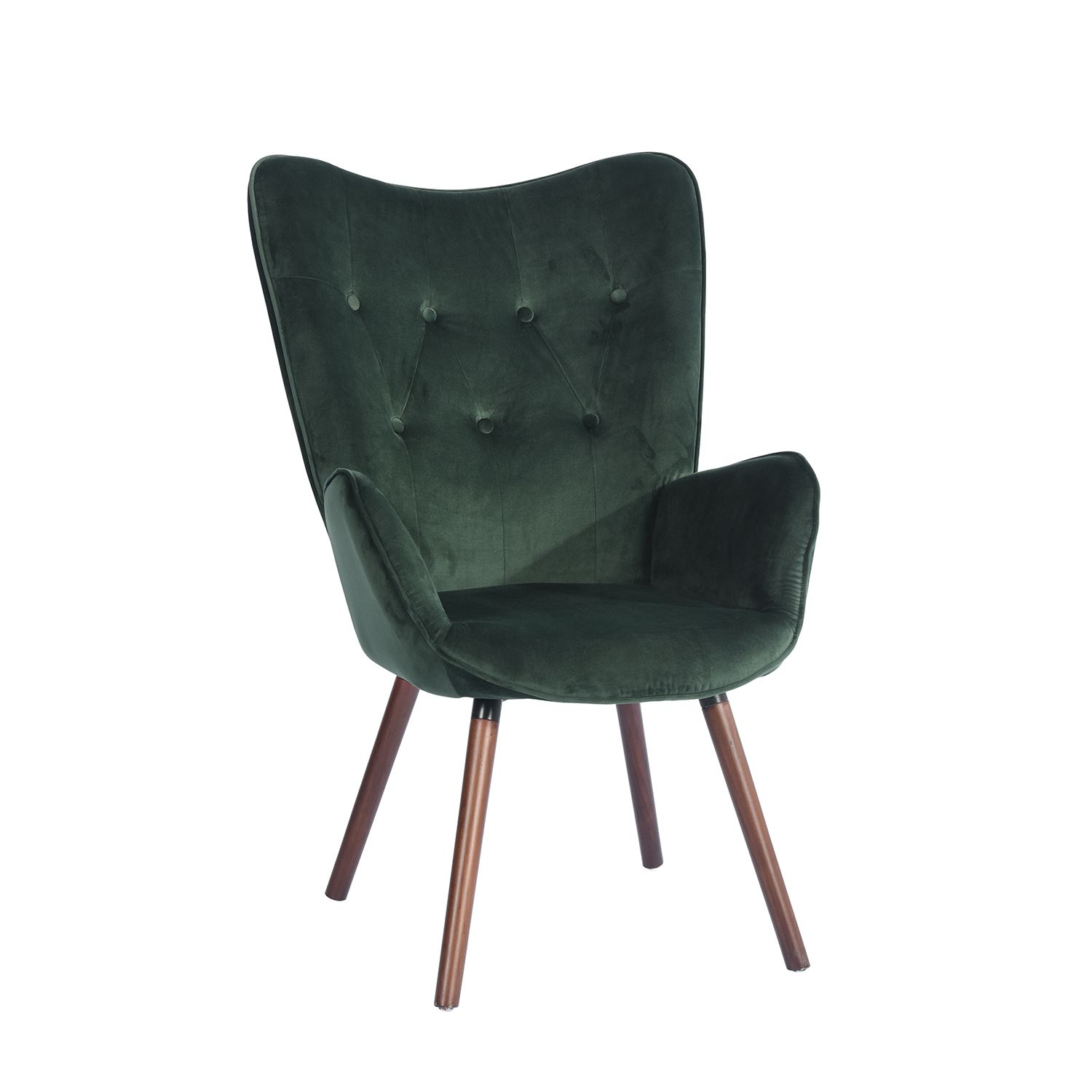 Wingback Accent Armchair Velvet Green Fabric Kd Solid Wood Legs