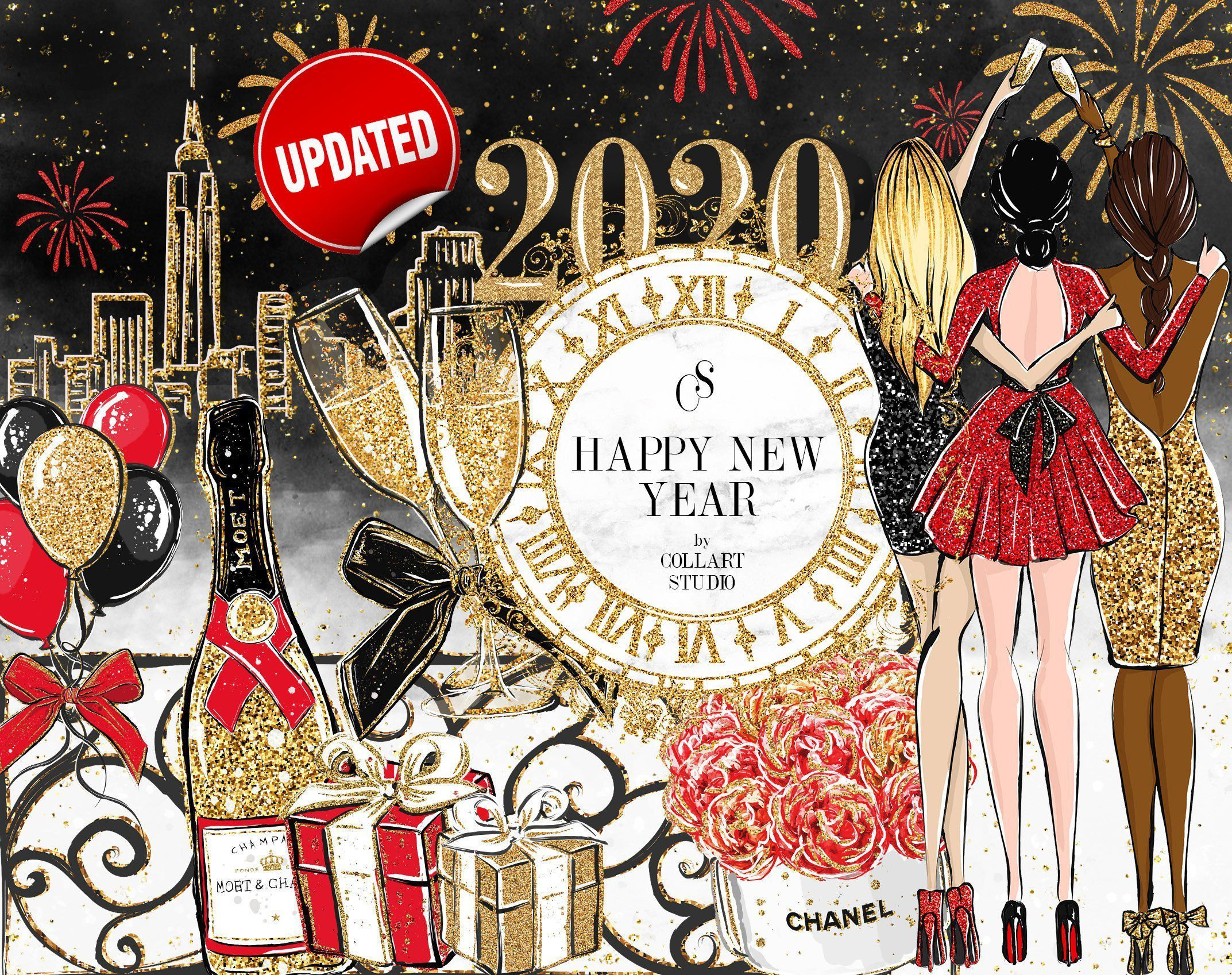 New Year Clip Art Fashion Illustration Party Clipart Celebration Clipart Birt Art Birt Celebr Glitter Planner Fashion Art Illustration Party Clipart