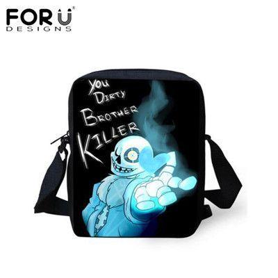 FORUDESIGNS Undertale Mini Messenger Bag Sans Papyrus Kids School Bags Boys Girls Crossbody Bags Children Bookbag Best Gift Bag