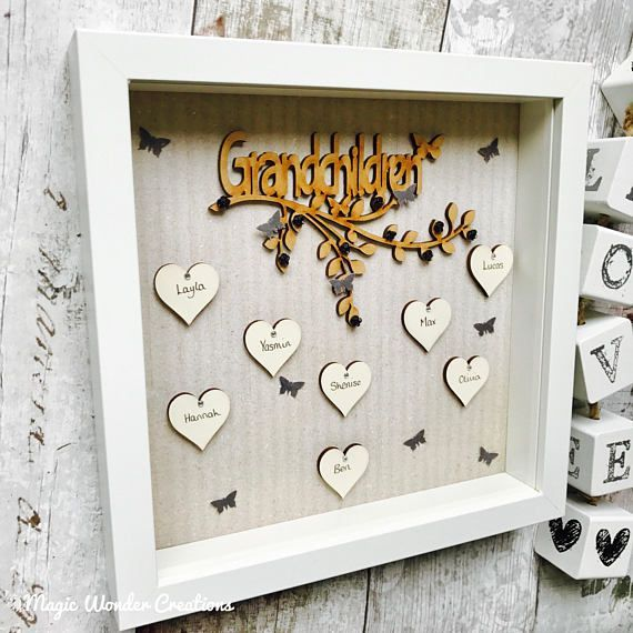 Beautifully personalised grandchildren box frame made of the highest ...
