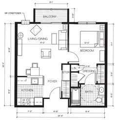 Great small home floor plan, 552 sf.
