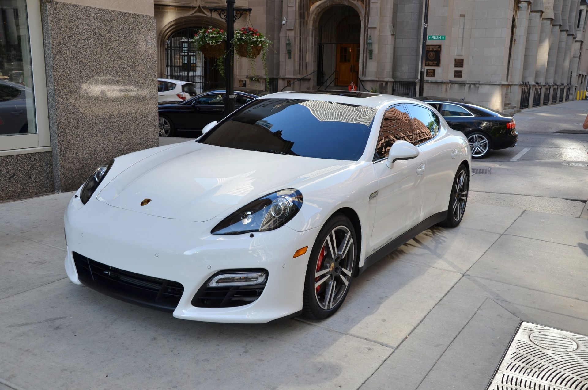i dont know why but i have a thing for white cars porsche panamera turbo
