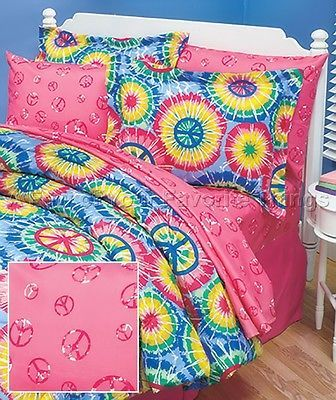 3PC PINK PEACE SIGN HIPPY TWIN SIZE BED SHEET SET TEEN TWEEN BEDROOM BEDDING