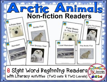 These 8 Beginning Readers (written at 2 levels of difficulty) have both colored photograph versions and black and white versions using clipart.  Each Handy Dandy informational book has engaging printable activities in B/W. The Arctic animal topics include: polar bears, the arctic fox, reindeer, and the snowy owl.