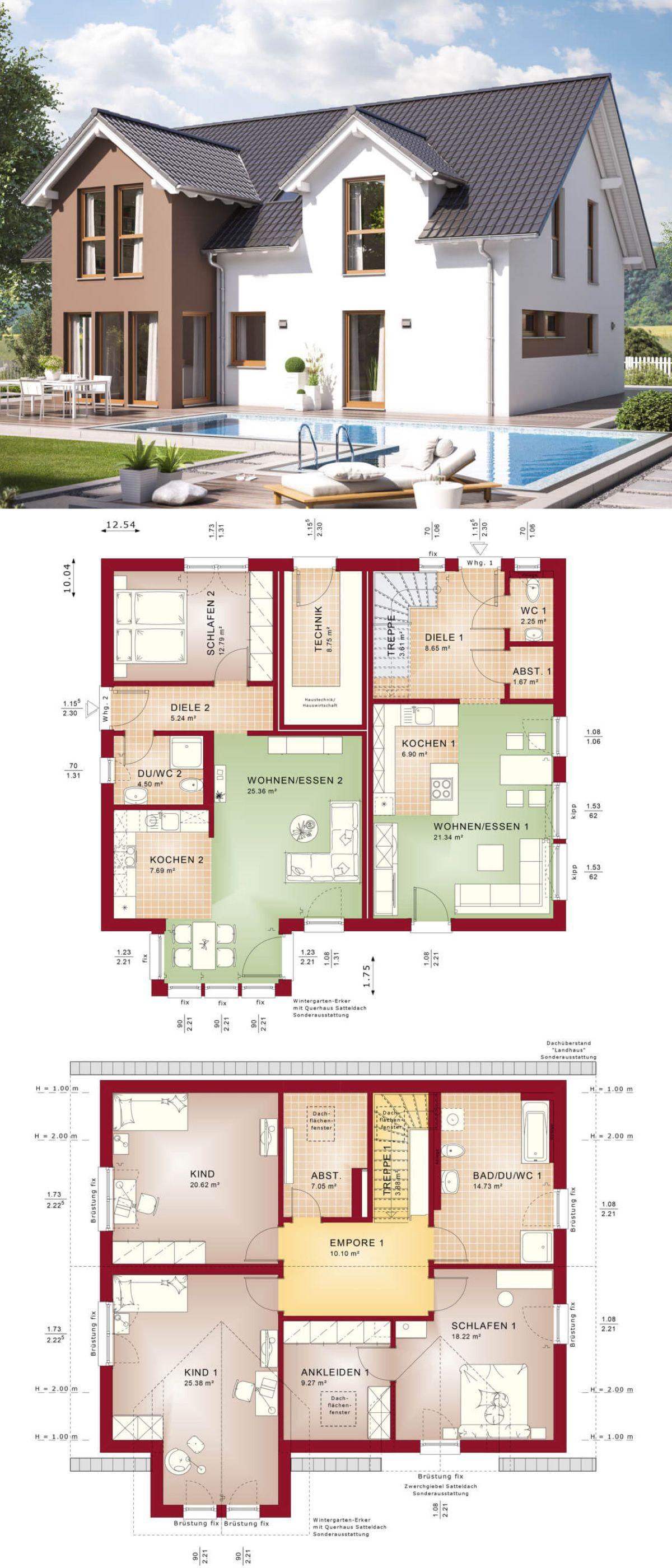 Modernes Einfamilienhaus mit Einliegerwohnung & Satteldach ...