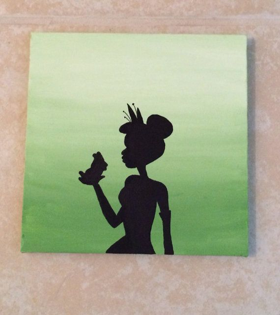 Princess Tiana Canvas Acrylic Silhouette Painting By Mammamaker