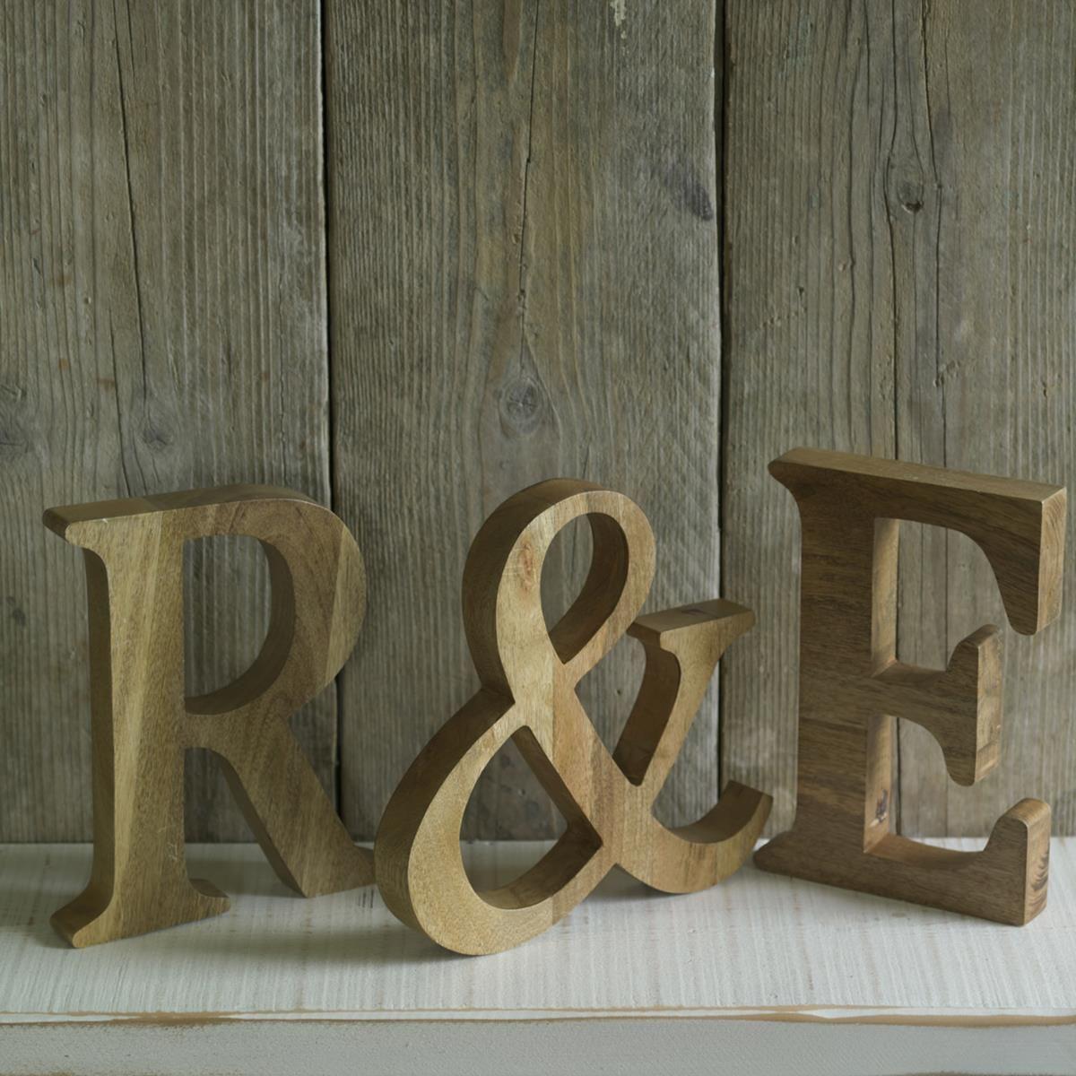 Natural Mango Wood Letters 15 eacg Natural