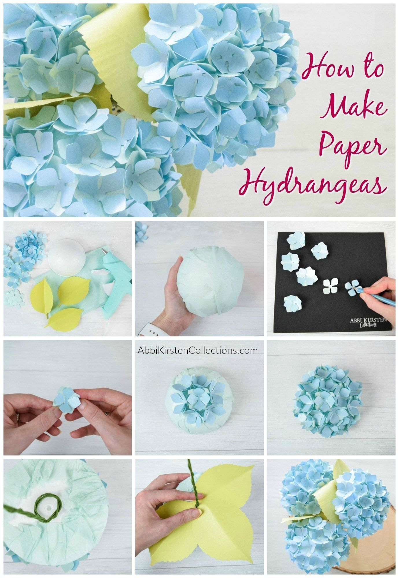 Diy Paper Hydrangea Flowers Templates And Tutorial Paper Flowers Craft Paper Flower Tutorial Paper Flowers
