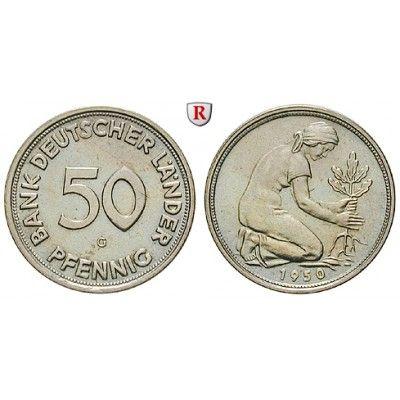 Bundesrepublik Deutschland 50 Pfennig 1950 G Fst J 379 Kupfer
