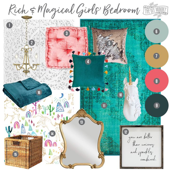 Mood Board: A Rich & Magical Girls' Bedroom Design images