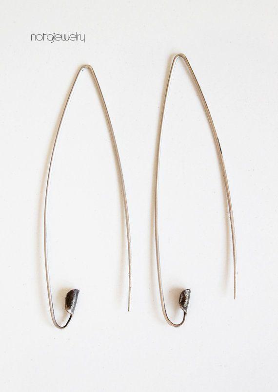 Long Silver Earrings Modern Drop By Notajewelry On Etsy 39 50