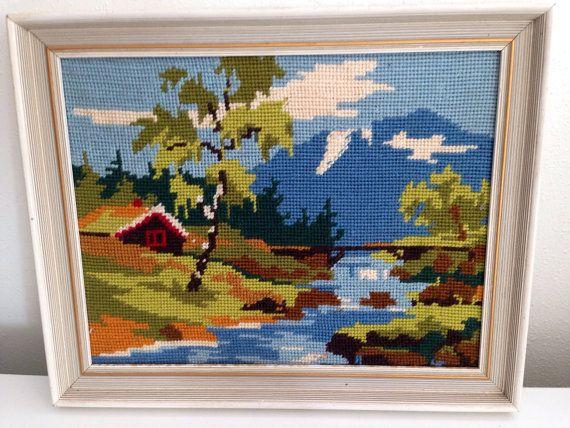 Pretty Cross Stitch Needlepoint of a Landscape Cottage by KimBuilt, $19.00