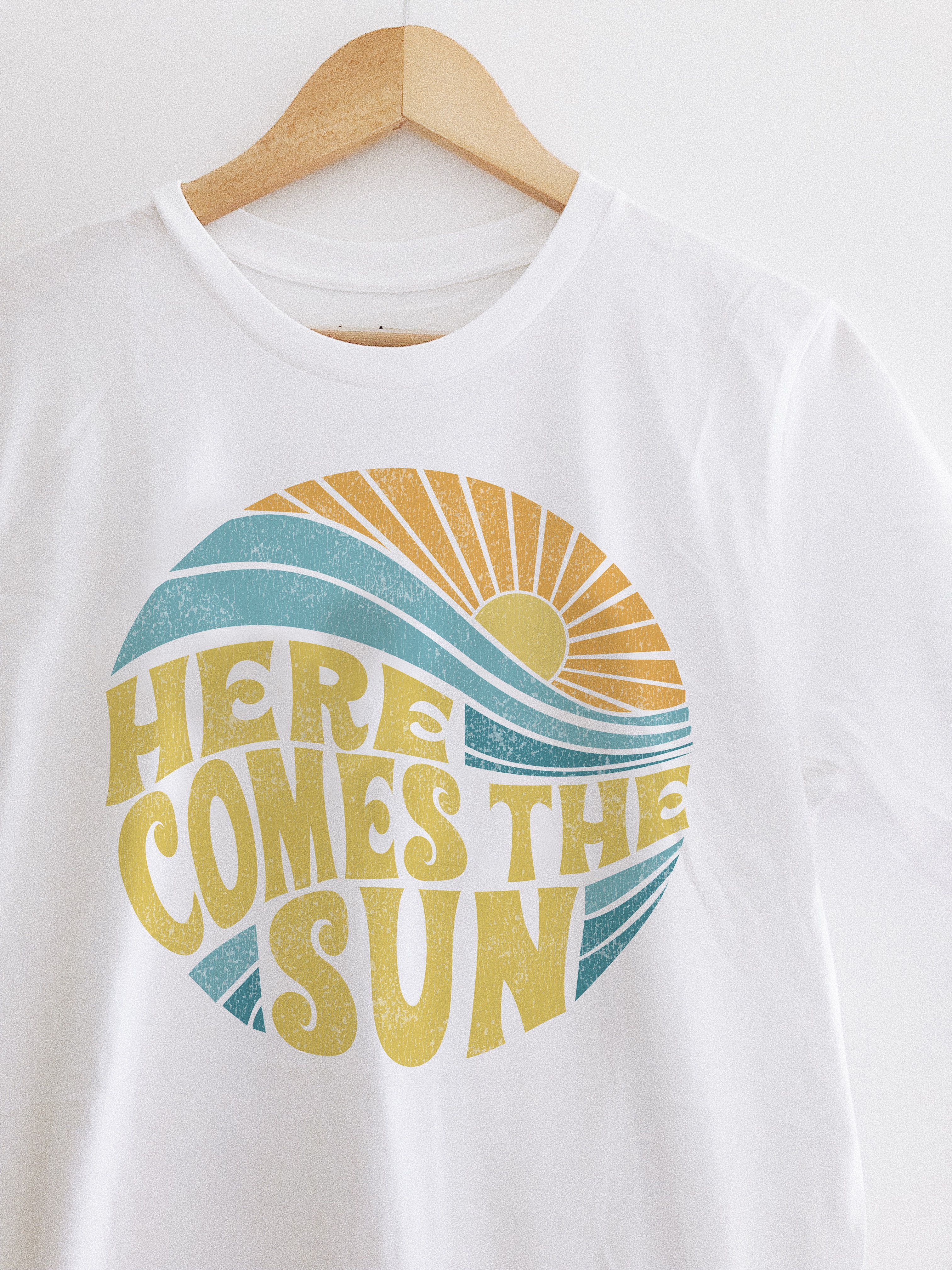 Here Comes The Sun Vintage Inspired Beach Graphic T Shirt Graphictee