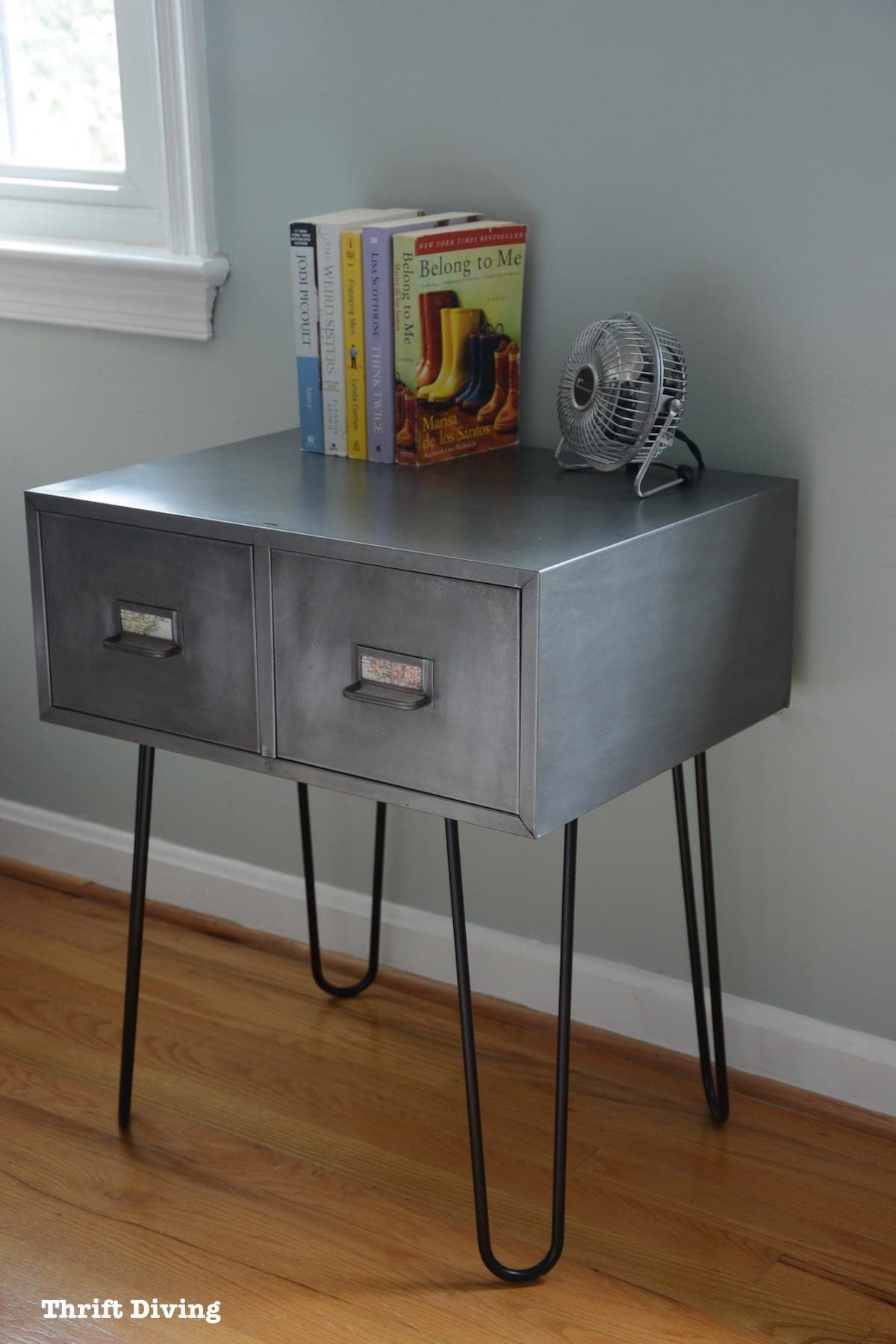 Vintage Metal Cabinets >> Before After Vintage Metal Cabinet Makeover With Hairpin Legs