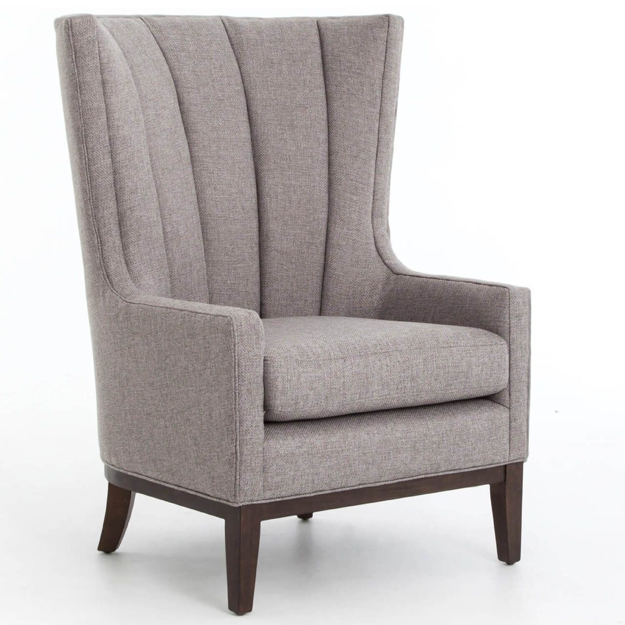 Channeled linen upholstered wing chair as seen on hgtv fixer upper a stately retreat in woodway texas