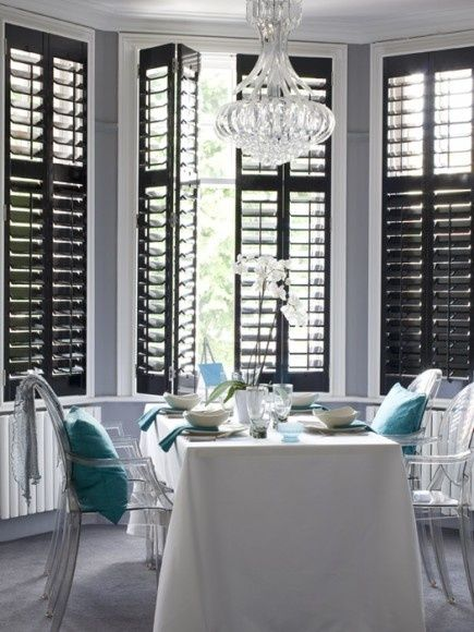 Black Plantation Shutters... Black Windows, Black Doors, House Blinds,  Interior