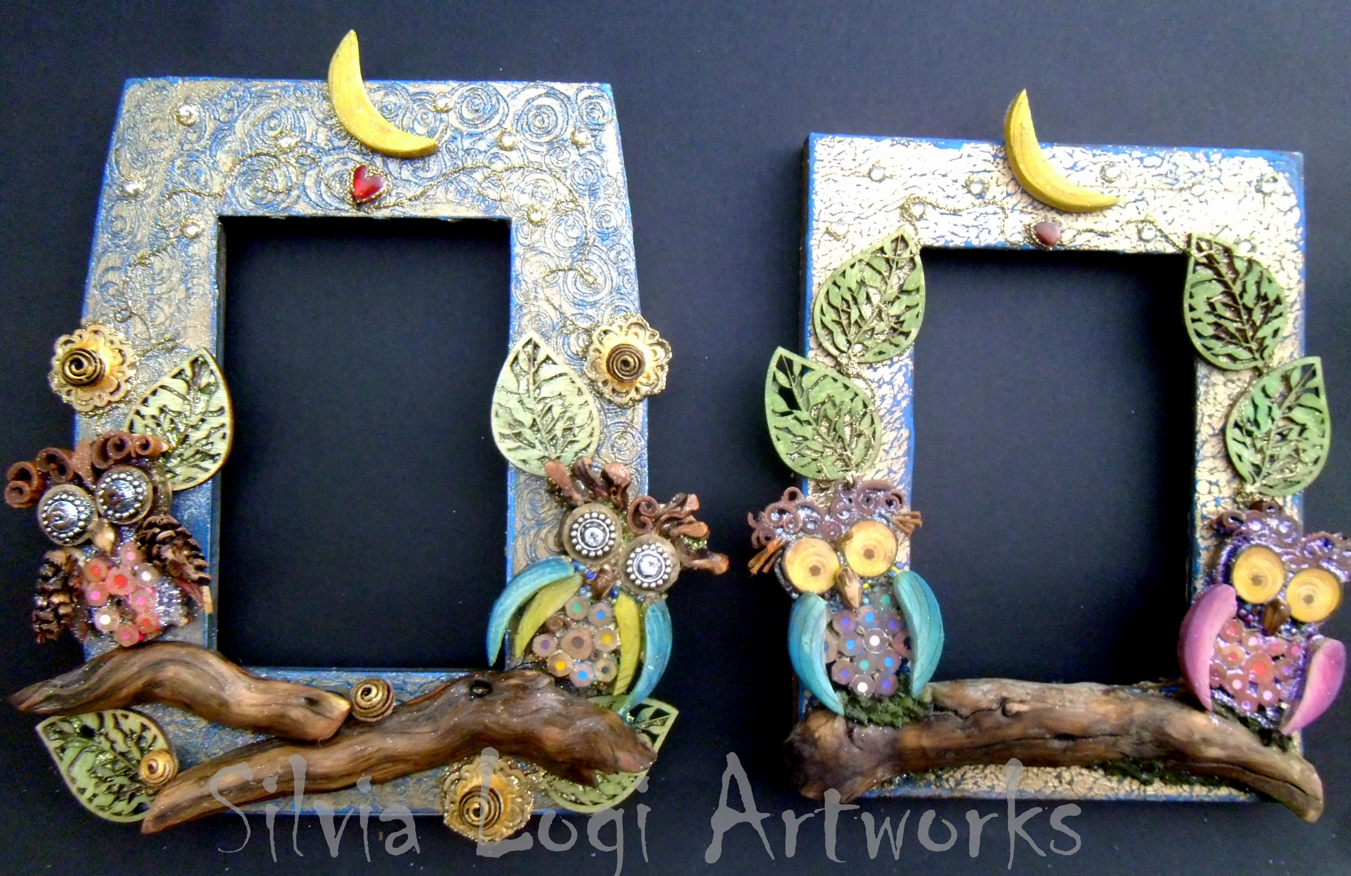 #owls #photoframes #moon in #wood #mosaic see more on my FB https://www.facebook.com/pages/Silvia-Logi-Artworks/121475337893535?ref=br_rs
