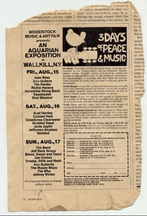 Woodstock ad | Woodstock, Woodstock music, Woodstock festival