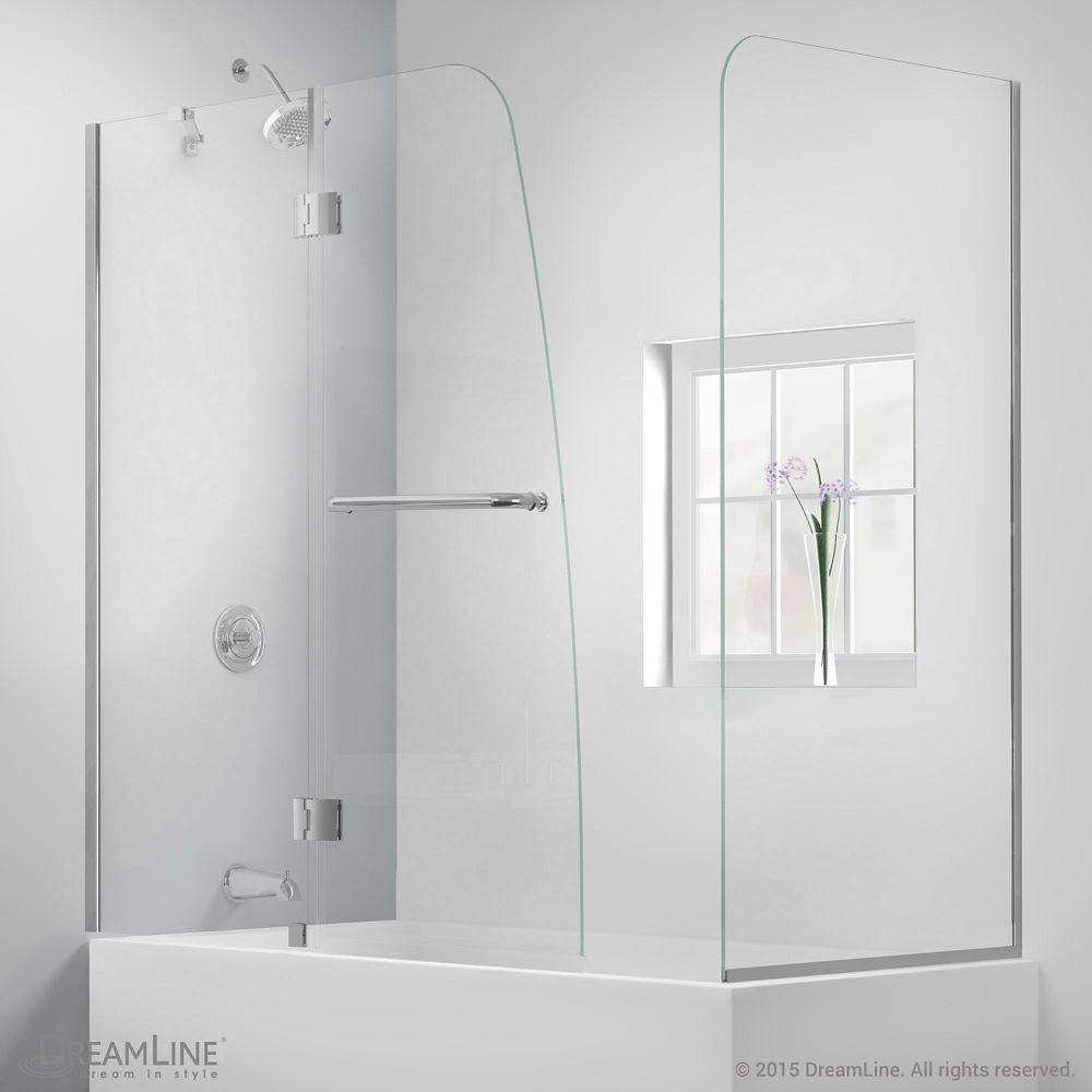 Aqua 56 Inch To 60 Inch X 58 Inch Semi Frameless Hinged Tub Door