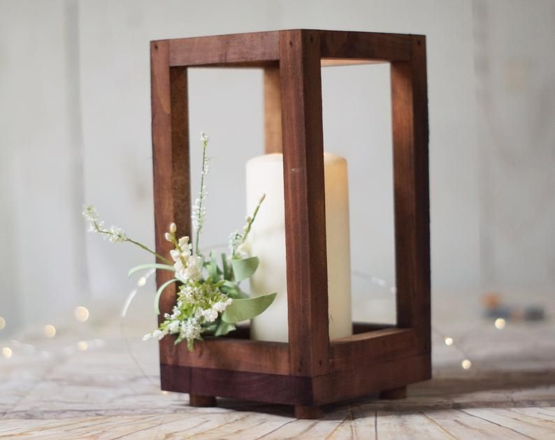 Reclaimed Wood Candle Lantern Centerpiece Rustic Wedding Etsy Wood Lantern Centerpiece Wood Candle Lantern Lantern Candle Centerpieces