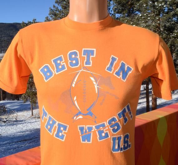 vintage 70s t-shirt denver BRONCOS football best west tee Small 80s ... 224015267