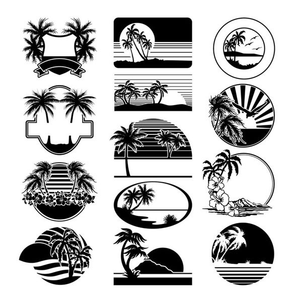 beef1dcf4b55a Casual beach silhouette label - vector graphics