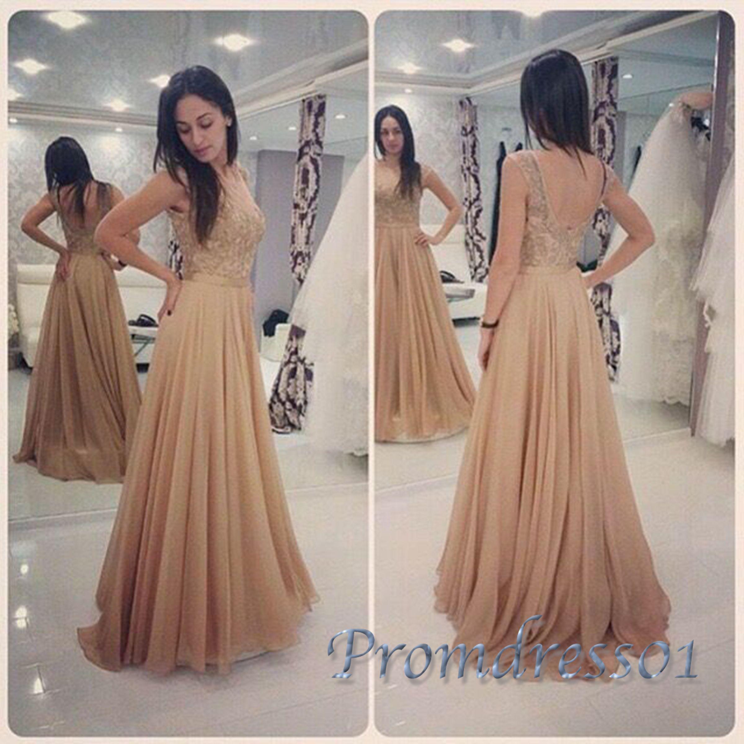 Chiffon prom dress, winter formal, cute champagne chiffon
