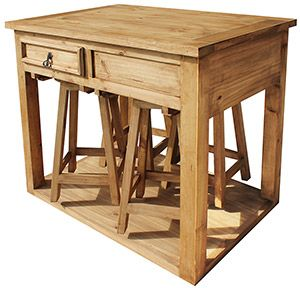 Rustic Pine Collection Kitchen Island W Stools Mes90 Rustic Pine Furniture Kitchen Island Table Stools For Kitchen Island