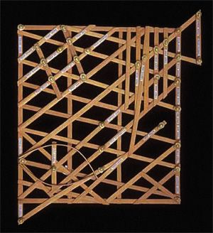 """Polynesian Stick Charts. The """"MEDO"""" covers only a few islands and is useful for specific voyages."""