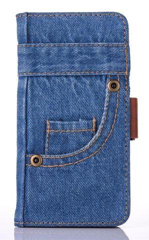 Denim Blue Jean Leather Flip Case Denim Wallet Cover for