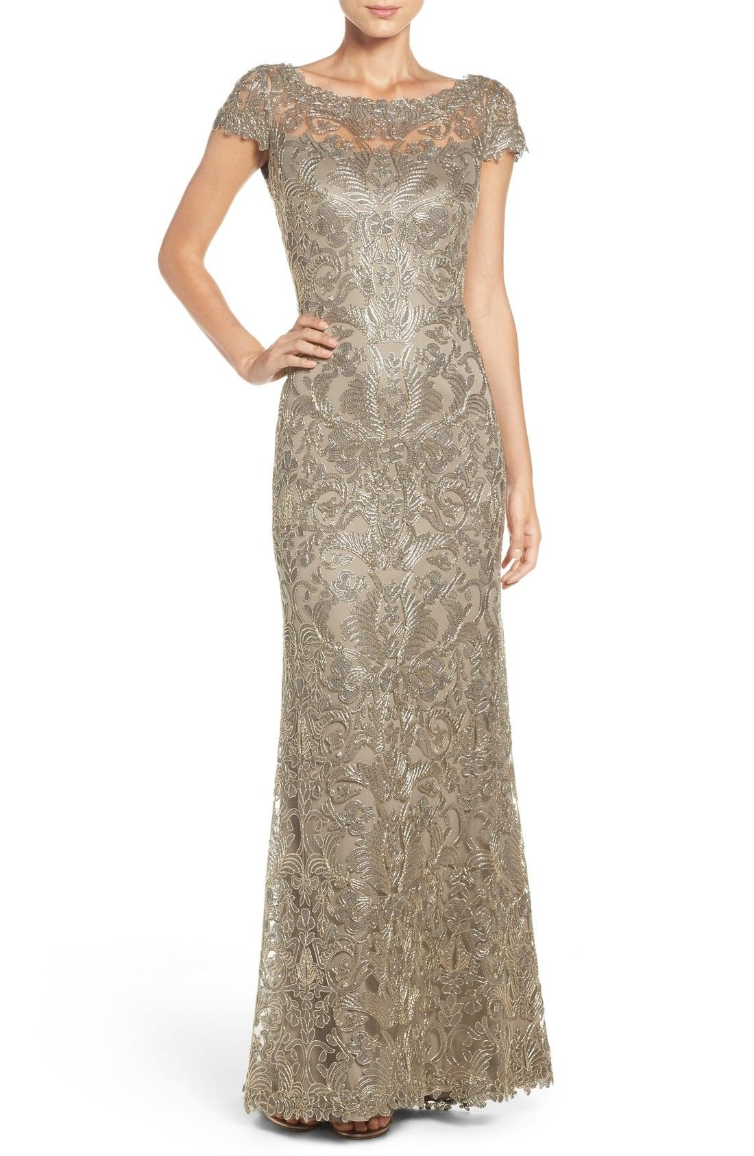 95edfc40 Shop TADASHI SHOJI Illusion Yoke Gown, Smoke Pearl, starting at $548.  Similar ones also available. On SALE now!