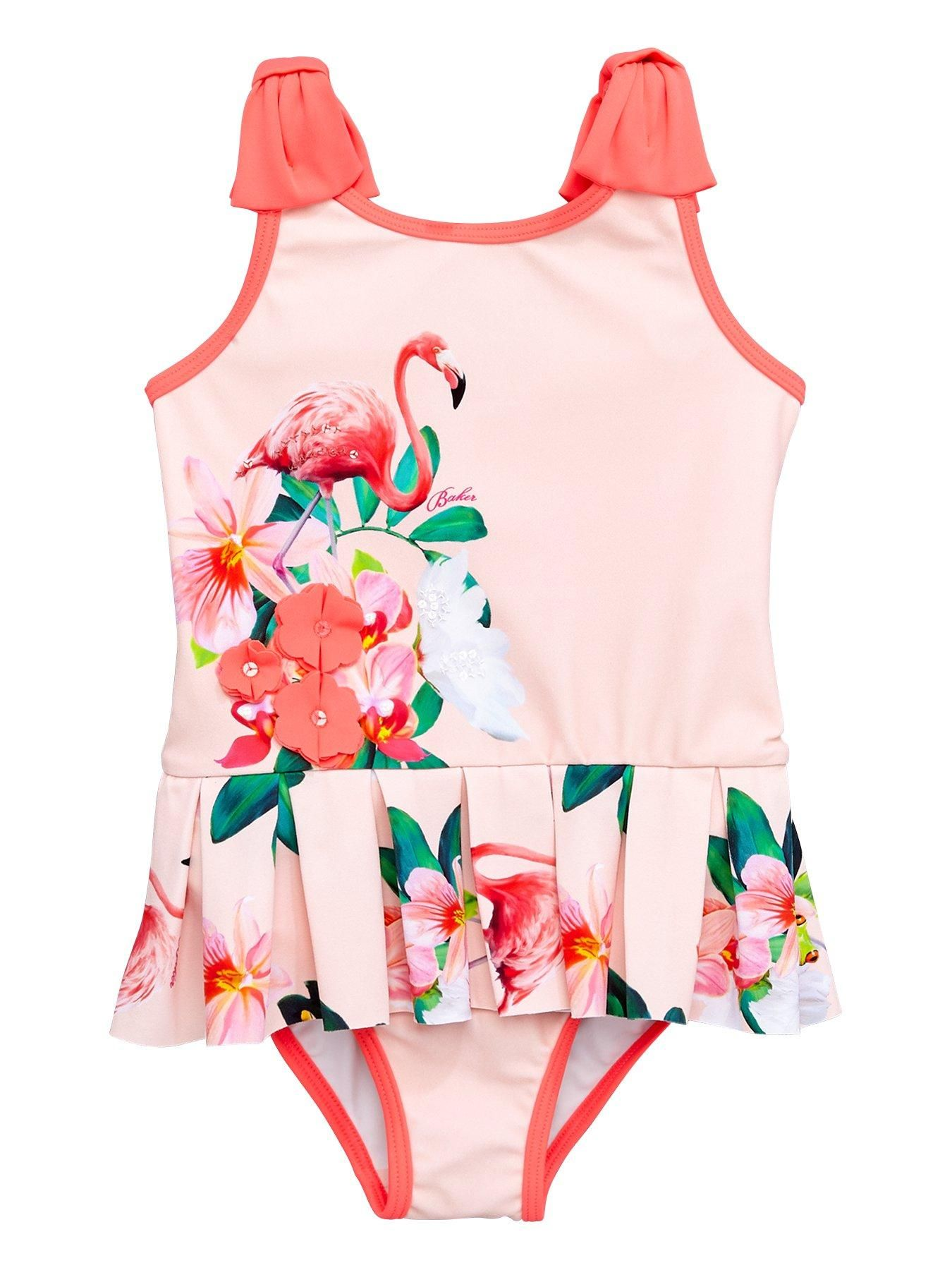 5f759aef4a4  Littlewoods - Baker by Ted Baker Girls Flamingo Floral Frill Swimsuit