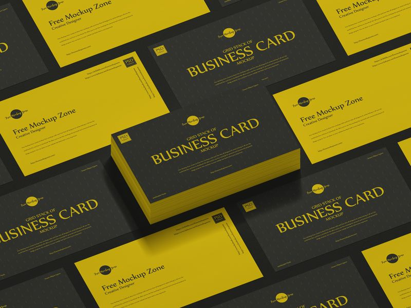 Free Grid Stack Of Business Card Mockup Free Mockup Zonefree Mockup Zone Business Card Mock Up Free Business Card Mockup Business Cards Creative