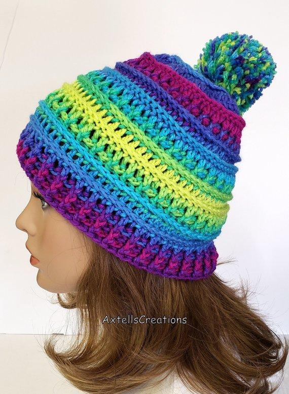 57e669c5a Rainbow Striped Winter Ski Hat with Pom Pom, Crochet Adult Running ...